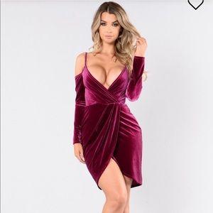 NWT Fashion Nova Bring It Back Dress (Magenta)